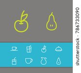 food icons set with organic...