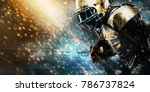 Small photo of American football sportsman player on stadium running in action. Sport wallpaper with copyspace.