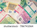 euro money. euro cash... | Shutterstock . vector #786741064