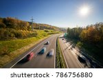 motion blurred cars on the... | Shutterstock . vector #786756880