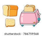 pink toaster with slices and... | Shutterstock .eps vector #786759568