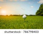 golf ball on tee in green grass ... | Shutterstock . vector #786798403