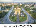 drone photo of patuxai  war... | Shutterstock . vector #786810274