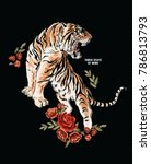 tiger embroidery patch print | Shutterstock .eps vector #786813793