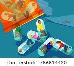 men and women trapped inside... | Shutterstock .eps vector #786814420
