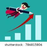 businessman flying over bar... | Shutterstock .eps vector #786815806