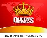 queen's birthday on red... | Shutterstock .eps vector #786817390