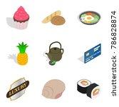 cupcake icons set. isometric... | Shutterstock .eps vector #786828874