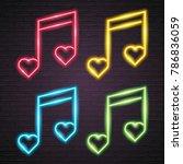 love music note set neon light... | Shutterstock .eps vector #786836059