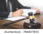 lawyer hand writes the document ... | Shutterstock . vector #786837853