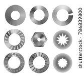 set of shim metal on white... | Shutterstock .eps vector #786839800