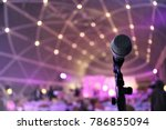 microphone close up on stage in ...   Shutterstock . vector #786855094