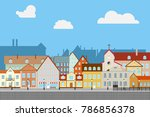 street old town with old houses.... | Shutterstock .eps vector #786856378