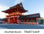 red beautiful buddhist temple... | Shutterstock . vector #786871669