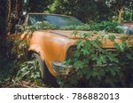 Rusty Car Wreck In The Woods
