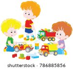 little boys playing with toy... | Shutterstock .eps vector #786885856