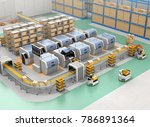 smart factory equip with agvs ... | Shutterstock . vector #786891364