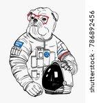 bulldog astronaut  hand drawn... | Shutterstock .eps vector #786892456