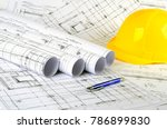 engineering project  yellow... | Shutterstock . vector #786899830