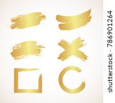 set of golden grunge banners.... | Shutterstock .eps vector #786901264
