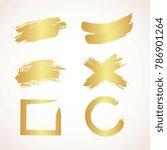 vector set of golden grunge... | Shutterstock .eps vector #786901264