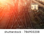 a lot of tangled rail rails ... | Shutterstock . vector #786903208