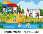 many children playing in the... | Shutterstock .eps vector #786913630