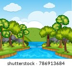 nature scene with trees and... | Shutterstock .eps vector #786913684