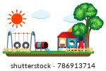 scene with swing and playhouse... | Shutterstock .eps vector #786913714