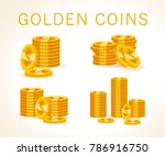 set of flat golden coins... | Shutterstock . vector #786916750