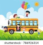 happy children on school bus... | Shutterstock .eps vector #786926314