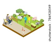 cage with sheeps isometric 3d... | Shutterstock .eps vector #786928549