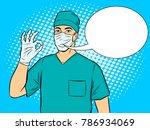 doctor shows ok gesture pop art ...   Shutterstock .eps vector #786934069