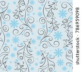 christmas trees and snowflakes. ... | Shutterstock .eps vector #786959098