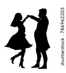 couple dancing silhouette | Shutterstock .eps vector #786962203