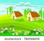 landscape house flower... | Shutterstock .eps vector #786968650