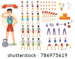 young strong man athlete ... | Shutterstock .eps vector #786975619