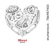 vector heart of meat products.... | Shutterstock .eps vector #786987403