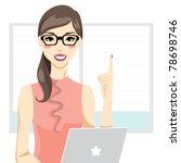 office woman having an idea in... | Shutterstock .eps vector #78698746