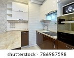 kitchen with appliances and a...   Shutterstock . vector #786987598
