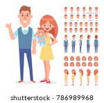 happy couple with newborn baby. ... | Shutterstock .eps vector #786989968