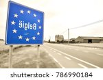 road sign indicating the border ... | Shutterstock . vector #786990184