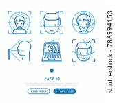 face id thin line icons set ... | Shutterstock .eps vector #786994153