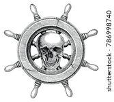 old steering wheel ship hand... | Shutterstock .eps vector #786998740