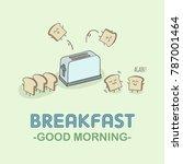 jumping toast breakfast good...   Shutterstock .eps vector #787001464