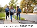 four young teen girls walking... | Shutterstock . vector #787002358