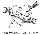 valentine's day vintage hand... | Shutterstock .eps vector #787007689