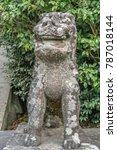Stock photo stone carved agyo open mouth komainu lion dog guardian dated year kanbun era tsurugaoka 787018144