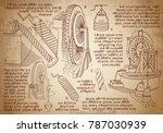leonardo da vinci sketches.... | Shutterstock .eps vector #787030939
