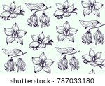 ink flowers pattern hand drawn... | Shutterstock .eps vector #787033180